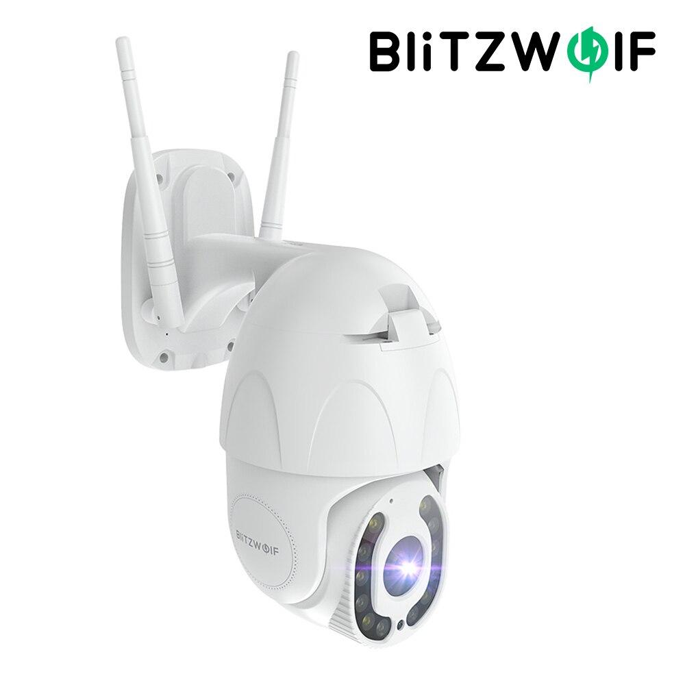 Blitzwolf ptz segurança ao ar livre 1080p wifi ip câmera de vigilância reconhecimento movimento humano visão noturna funciona com alexa
