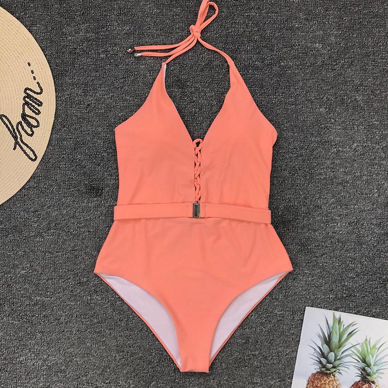 Одноцветный купальный костюм с бретельками, модель 2020 года, сексуальный купальник для женщин, с поясом, с высокой посадкой, пляжная одежда, u-... 60