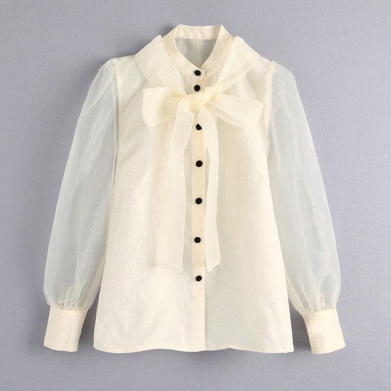 Transparent Women Blouse Autumn 2019 New Fashion Off White Organza See Through Sleeve Bow Collar Modern Lady Sunscreen Shirts