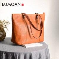 EUMOAN Stylish hand held shoulder bag, leather shopping bag, simple large capacity handbag