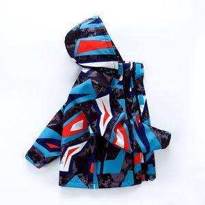 Image 2 - Imprimé géométrique sportif enfants tenues chaud polaire enfant manteau imperméable bébé filles garçons vestes vêtements dextérieur pour enfants pour 98 152cm