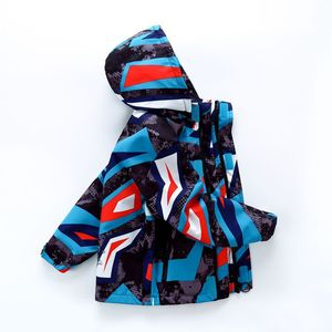 Image 2 - Sporty Geometric Print Kids Outfits Warm Fleece Child Coat Waterproof Baby Girls Boys Jackets Children Outerwear For 98 152cm