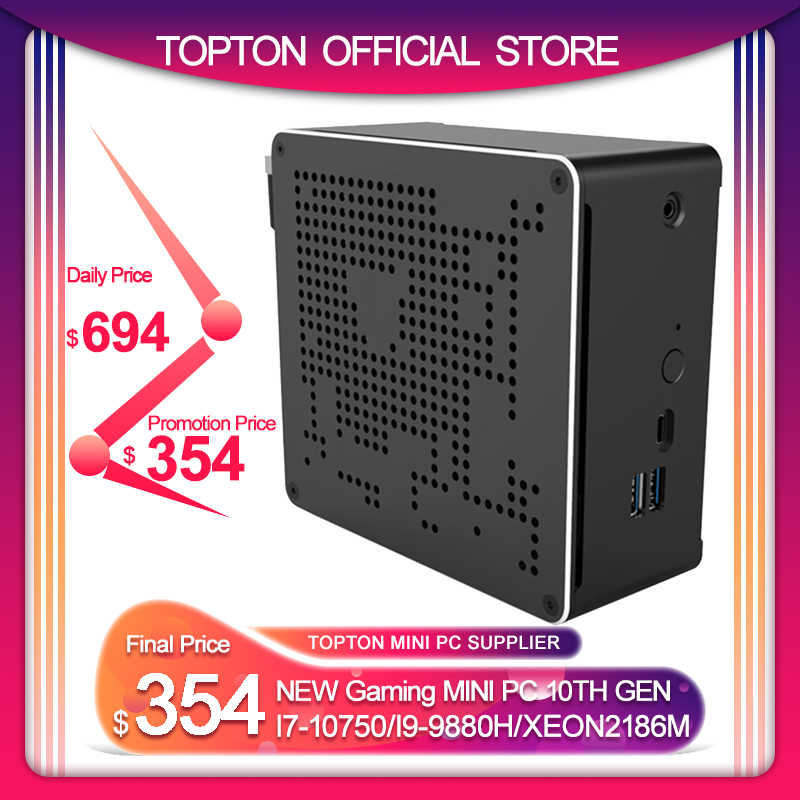 Topton novo intel mini pc i5 i7 i9 9880h, 2 intel lans windows 10 2 * ddr4 64 micro pc nvme m.2, mini computador 4k htpc dp hdmi