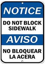 Bin shang metal sinal de alumínio aviso não bloquear calçada aviso nenhum bloquear la acera placa para garagem quintal