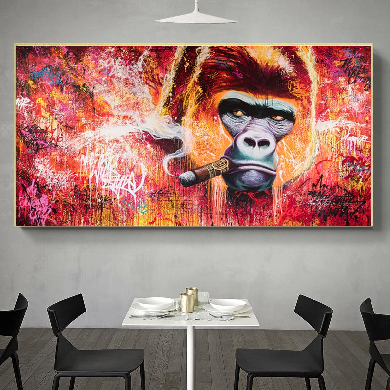 Gorilla Smoking Cigar Oil Painting