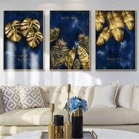 Luxus Wand Kunst Goldenen Blatt Wand Kunstdrucke Leinwand Gemälde Blau Poster Dekorative Wand Kunst Drucke Wohnzimmer Wohnkultur