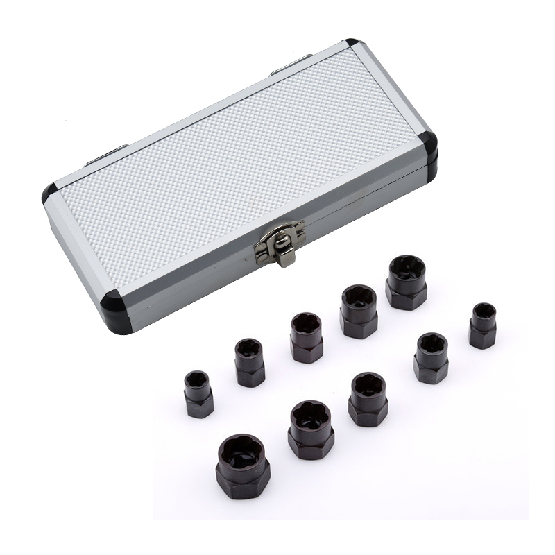 10pcs Damaged Bolt Nut Screw Remover Extractor Set Nut Removal Socket Tool Threading With Box 9/10/11/12/13/14/15/16/17/19mm