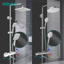 Conjunto de ducha MICOE, mezclador termostático de ducha, grifo cromado de fundición de cobre, boquilla de 5 modos