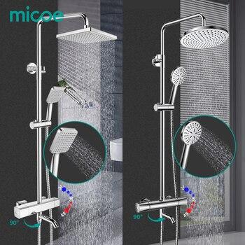 MICOE ensemble de douche mitigeur de douche thermostatique Chrome robinet corps cuivre coulée robinet 5 mode buse