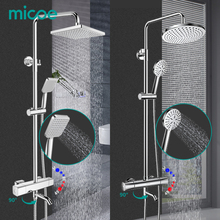 MICOE shower set thermostatic shower mixer Chrome faucet body copper casting faucet 5 mode nozzle