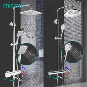 Image 1 - MICOE shower set thermostatic shower mixer Chrome faucet body copper casting faucet 5 mode nozzle