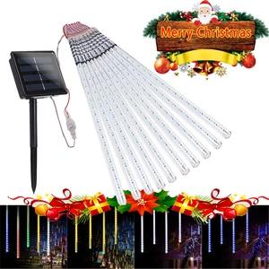 Image 1 - 10Pack 30/50cm Solar Power Meteor Shower Rain Tubes , 24/40 Led DC7V LED String Lights For Christmas Wedding Decor Outdoor