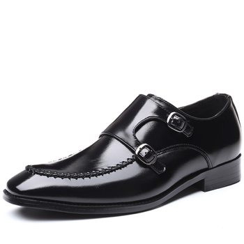 Men's Double Monk Strap Shoes Oxford Leather Mens Square Toe Classic Dress Shoes Casual Comfortable Gradual Color Loafer