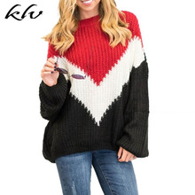 2019 Autumn New Women Color Stiching Sweater Batwing Knitting O Neck Pullover Sweater Ulzzang Oversized Jumpers Knitwear Plus цена