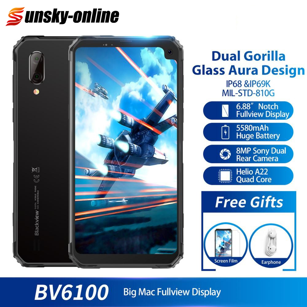 """Blackview BV6100 6.88 """"Gorilla Glass Scherm Smartphone Android 9.0 IP68 Waterdichte 5580mAh 3GB + 16GB GPS + GLONASS NFC Mobiele Telefoon-in Mobiele Telefoons van Mobiele telefoons & telecommunicatie op AliExpress - 11.11_Dubbel 11Vrijgezellendag 1"""