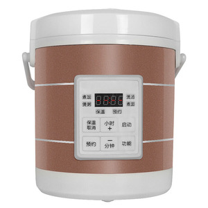 1.6L Mini Electric Rice Cooker 12V-24V For Car And Truck Travel Portable Soup Pot Cooking Pot 12H Appointment Food Container