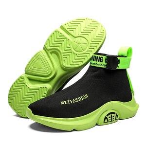 Image 5 - Moda yüksek Top rahat çorap ayakkabı erkekler nefes Flats erkekler Casual Slip On Platform ayakkabılar erkekler yürüyüş ayakkabı sepet homme
