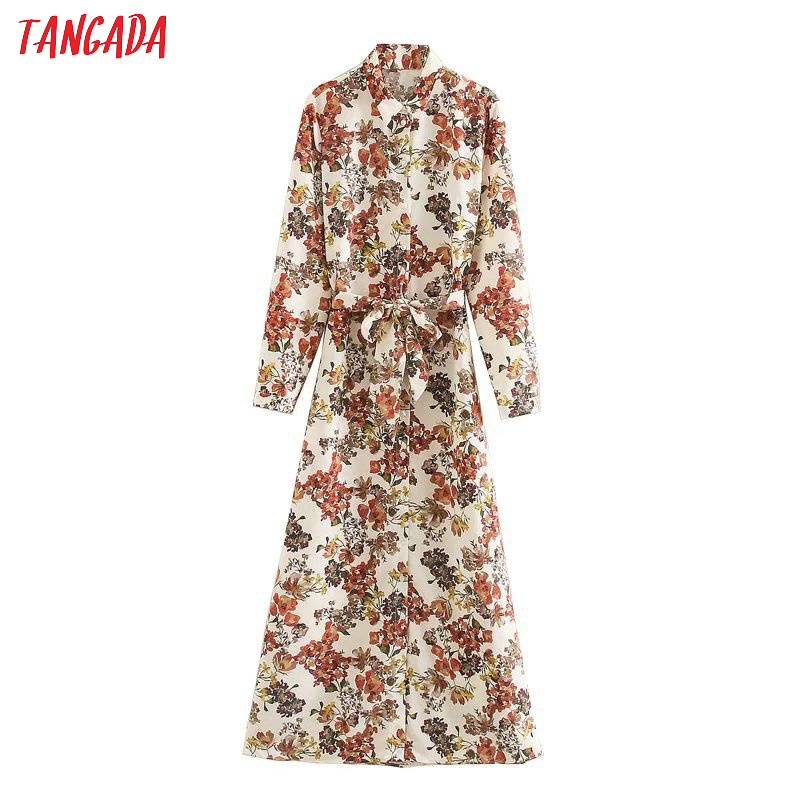 Tangada 2020 Spring Fashion Women Flowers Print Shirt Dress Long Sleeve Elegant Ladies Long Dress Vestidos 5Z130