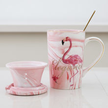 Large Capacity Creative Flamingo Ceramic Mug With Lid Filter Simple Coffee Cup Office Tea Cup three-pieces set(China)