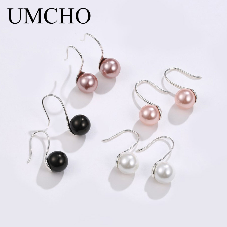UMCHO Solid Silver 925 Prevent Allergy Pearl Drop Earrings Eardrop For Women Engagement Elegant Gift Noble Fine Jewelry