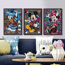 Graffiti Street Art Disney Mickey and Minnie Donald Duck Painting Posters Prints On Canvas Wall Picture for Living Room Decor