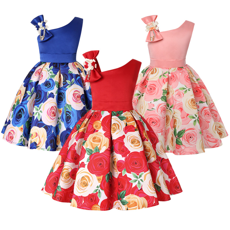 Girls Dress For Kids Clothes Flower One-shoulder Pageant Birthday Wedding Party Princess Children Dress 3 4 5 6 7 8 9 years 1