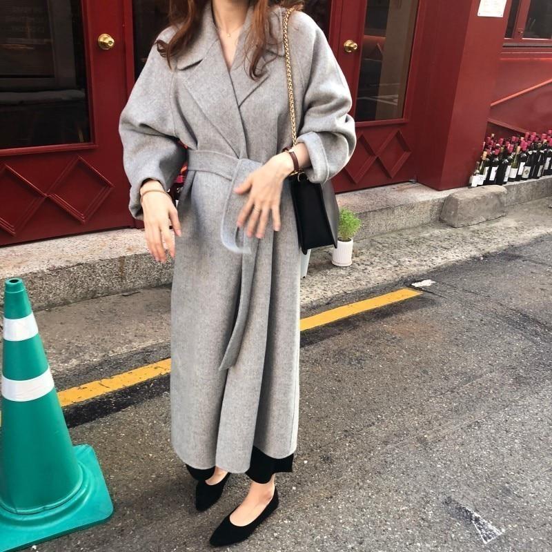 H18a6bab97dd24814a40f82bd1ed486bfV Winter Fashion Coats Women Wool-blend Coat Lazy Oaf Long Chunky Warm Coat Western Style Fitted Waist Lace-up Loose Coat