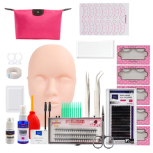 Pro 12/14/16/19 pçs/set cílios postiços extensão conjunto com formação cabeça modelo prática silicone manequim cabeça pinças kits