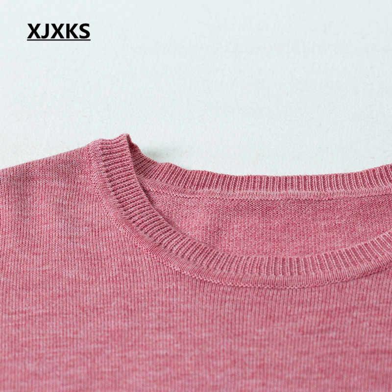 XJXKS ผู้หญิง 2019 ฤดูใบไม้ร่วงฤดูหนาวสีใหม่ทั้งหมดตรงกับสบายแคชเมียร์ถักเสื้อกันหนาวผู้หญิง pullover