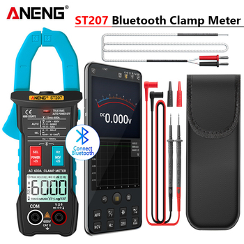 ANENG ST207 Digital Bluetooth Multimeter Clamp Meter 6000 Count True RMS  DC/AC Voltage Tester AC Current Hz Capacitance Ohm aneng st184 digital multimeter clamp meter true rms 6000 counts professional measuring testers ac dc voltage ac current ohm