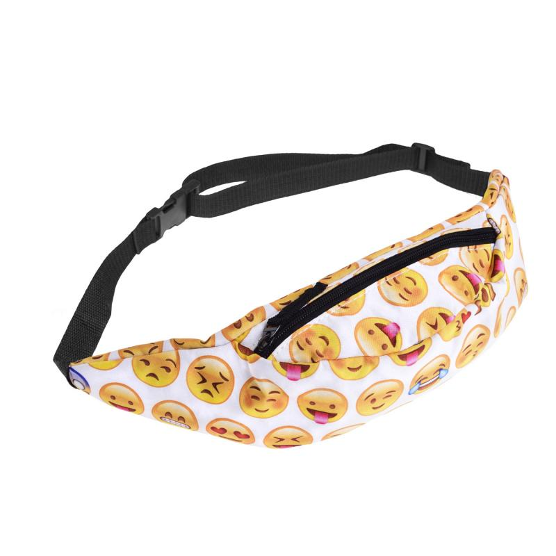 Emoji Yellow Pattern Sport Running Waist Bag Waterproof Bags Fanny Packs 2019