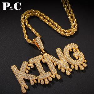 Мужское ожерелье и подвеска в стиле хип-хоп, с надписью капельного пузырька и подвеской, с цепочкой для тенниса, 4 мм, A-Z на заказ