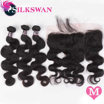 Silkswan Brazilian Body Wave Hair Middle Ratio Remy Human Hair 3 Bundles With Frontal Ear to Ear Closure Free Shipping - DISCOUNT ITEM  46% OFF All Category