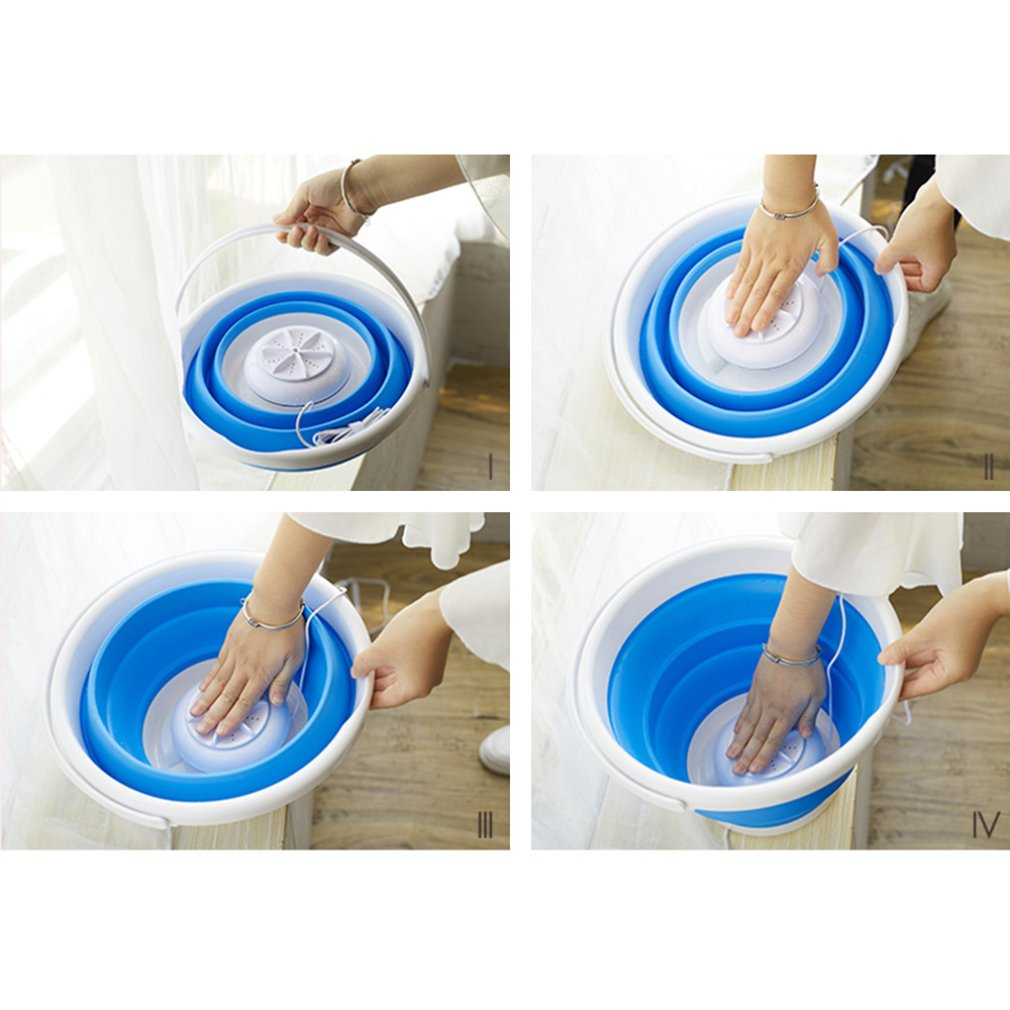 Portable Ultrasonic Turbo Automatic Electric Roller Washing Machine Quick Clean Washing Tool for Outdoor Travel Use
