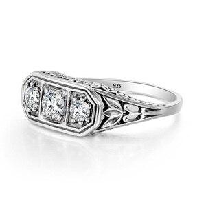 Image 4 - Szjinao Diamond Ringen Voor Vrouwen Zirkoon 3 Precious Stone Massif Edelsteen Ring Voor Vrouwen Carve Wedding Real Zilver 925 Sieraden