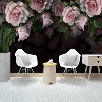 Custom 3D Photo Wallpaper Wall Murals Romantic Fashion Peony Rose Flower Mural Modern Living Room Sofa Decoration Wall Painting custom 3d wall murals wallpaper modern art mural living room bedroom restaurant wall decoration wolf photo wall paper painting
