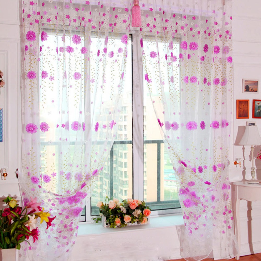 #<font><b>82018</b></font> Creative 1*2M Pretty Window Curtain Sunflower Print Tulle Room Curtains Divider Scarf Valances CM image