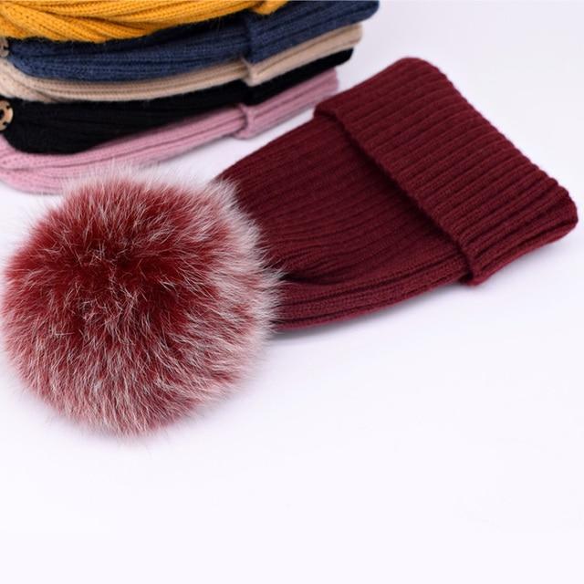 New winter hat luxury quality Fox fur pompom hats beanie for women 3