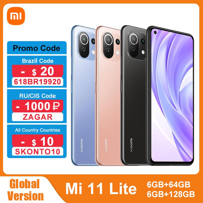 Global Version Xiaomi Mi 11 Lite NFC 64GB/128GB Smartphone Snapdragon 732G Octa Core 64MP Rear Camera 4520mAh Mi 11 Lite Phone