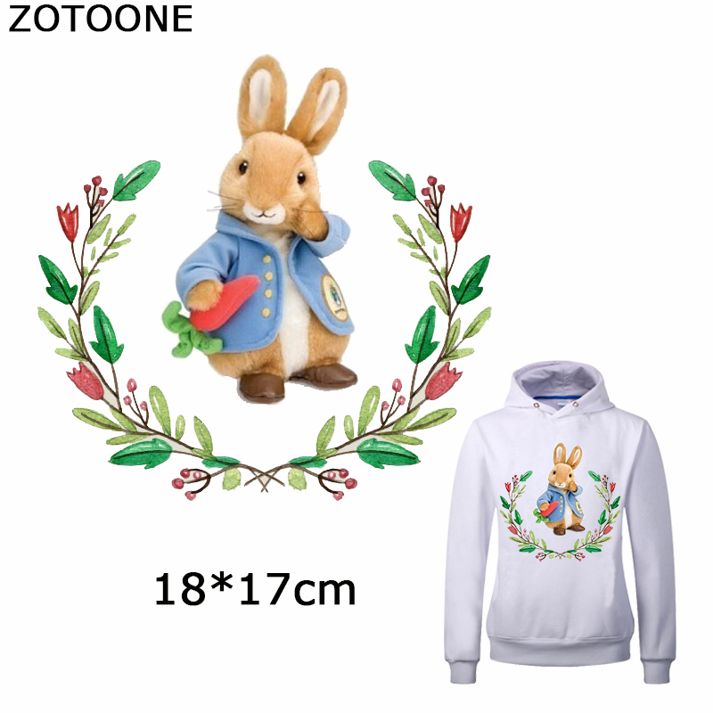 ZOTOONE Cartoon Animals Heat Transfer Patch Cute Rabbits Iron on Patches for Clothes Diy Beaded Applique Decorations