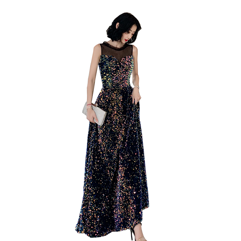 New Sequin Evening Dress Long Sleeveless Shiny Fashion Party Gown Temperament Elegant Prom Evening Gown Graduation Ceremony WAYJ