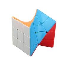 Fanxin 3x3 Torção Torcida Coloful Cubo Puzzle Brinquedo Cubo Mágico Stickerless Puzzles Brinquedos Educativos Coloridos Para Crianças