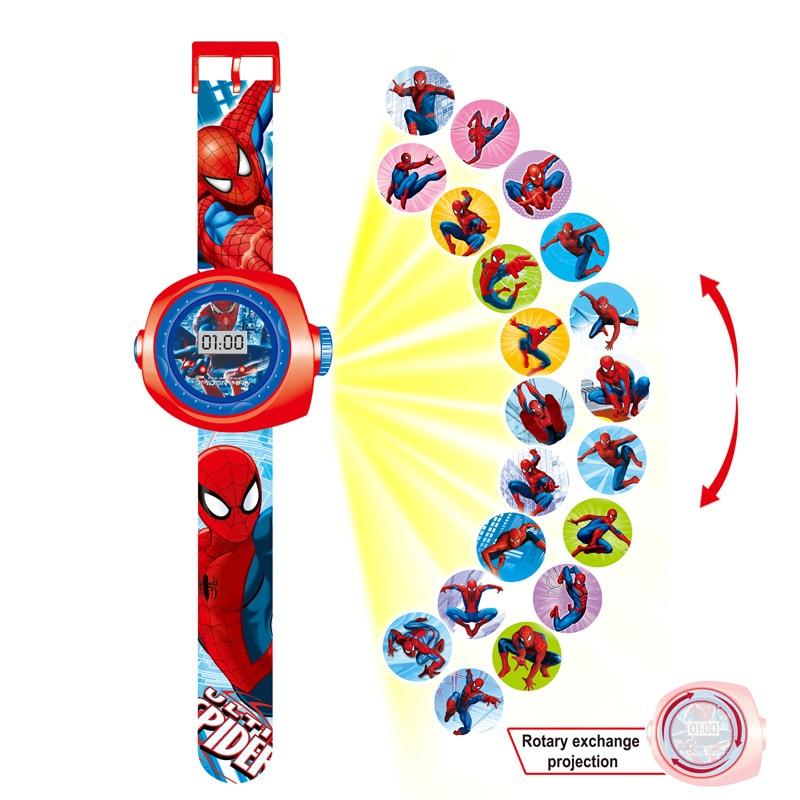 New Avengers Spiderman Iron Man Frozen Cartoons 20 Projection Pattern Digital Watch Boy Girl LED Electronic Watch Child Gift