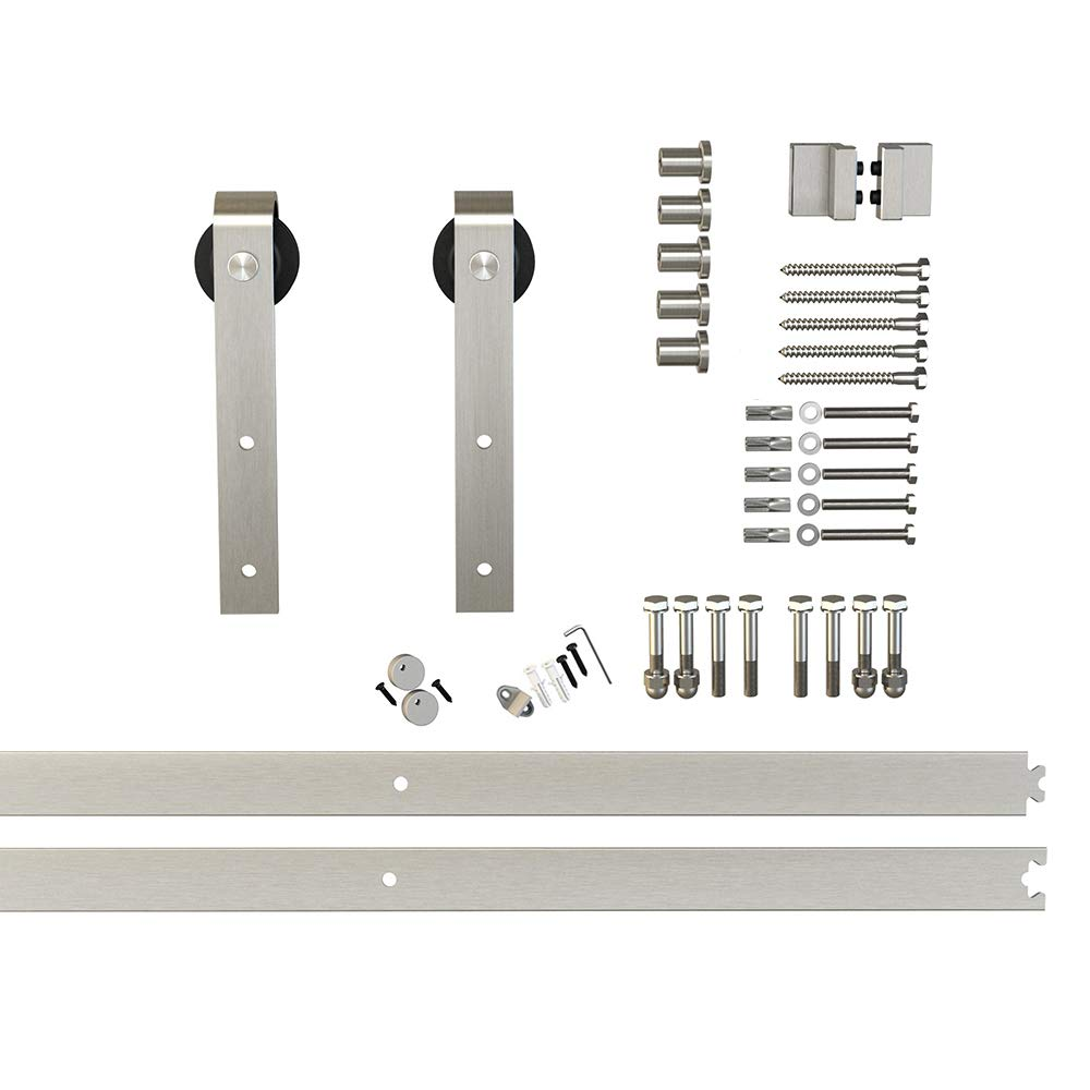 6.6ft Satin Nickel Steel Hanger Roller Sliding Barn Door Hardware Track Set 2x3.3ft Rails
