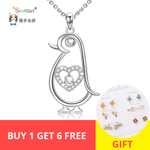 original Cute  With 100% 925 Sterling Silver Pendant Necklace CZ Cute Couple Penguin Pendant Jewelry for Dropshippng кроссовки original penguin