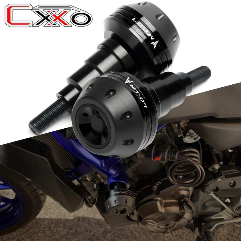 Логотип MT-07 левый и правый мотоциклетные CNC рамки ползунки ночлега падение протектор для Yamaha MT07 MT 07 2015-2021 2019 2020