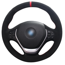Red Marker Black Suede Car Steering Wheel Cover for BMW F20 2012-2018 F45 2014-2018 F30 F31 F34 2013-2017 F32 F33 F36 2014 universal replacement carbon fiber mirror cover for bmw rearview door mirror covers x1 f20 f22 f30 gt f34 f32 f33 f36 m2 f87 e84