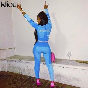 Kliou women fitness two pieces set tracksuit long sleeve crop top letters print elastic skinny leggings sportswear slim outfit 1