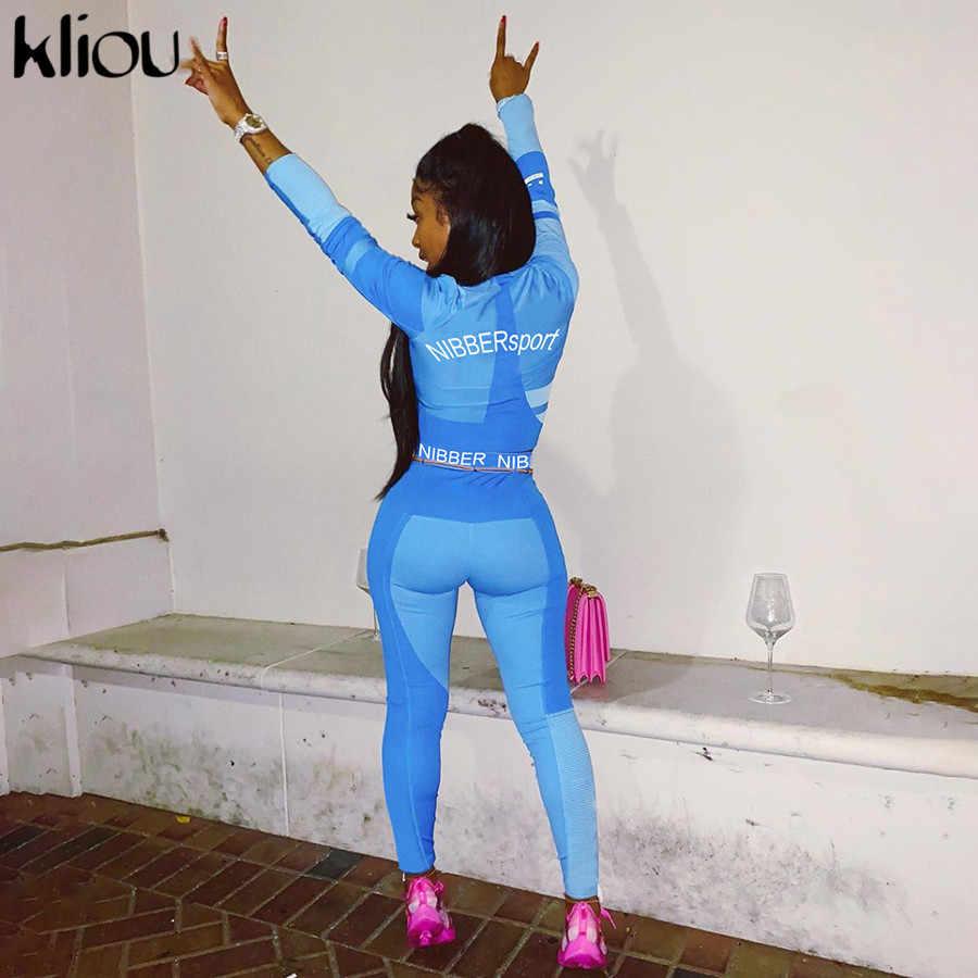 طقم ملابس رياضية للنساء من قطعتين من Kliou بأكمام طويلة بلوزة قصيرة مطبوع عليها حروف ضيقة مرنة ملابس رياضية ضيقة