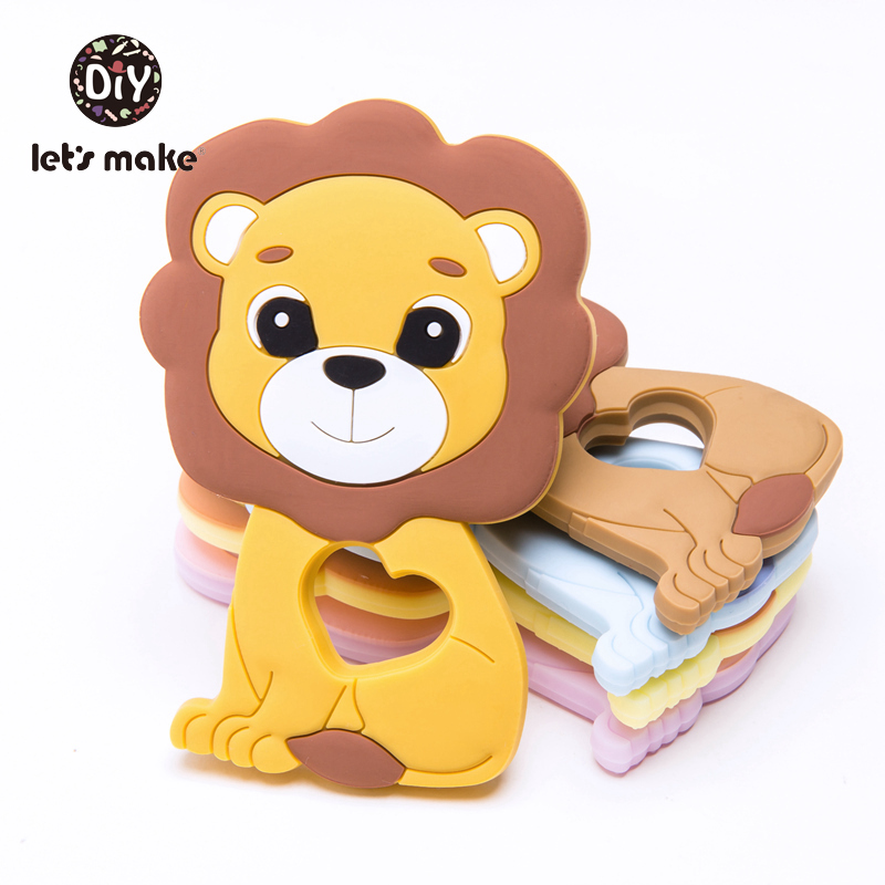 Newest Silicone Teether Lion 5pcs Cartoon Animals Lion Teether For Teeth DIY Teething Necklace Food Grade Tiny Rod Let's Make